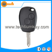 2 button remote car key blanks wholesale with logo and uncut blade key cover shell fob for renault logan Clio Sandero