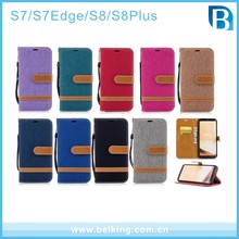 2017 New mobile phone accessories jeans denim cowboy wallet leather flip case for samsung galaxy S7 S7 edage S8 S8plus