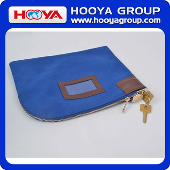 High Quality Cotton Canvas Two Metal Keys Bank Deposit Lock Bag