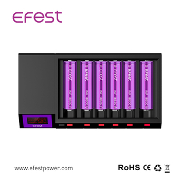 Promotions, Big Sales Efest Blu6 App OLED/ LCD Charger 6 Bay Bluetooth For 3.7V Lithium Battery Charger