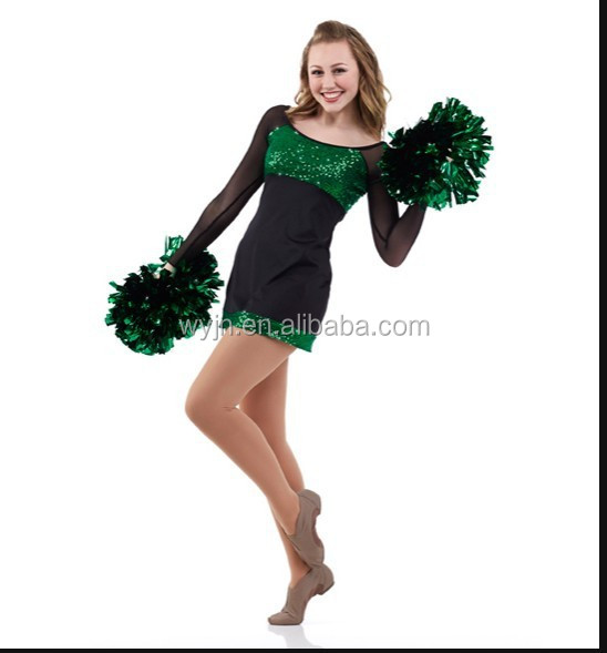 green shinning sequin - black short tight dress- tap and Jazz cheer costume -sexy Girl dress