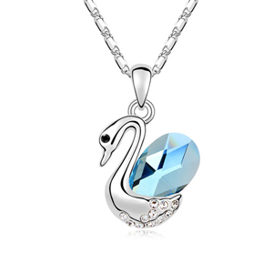 10955 exaggerated swan silver jewelry coral necklace