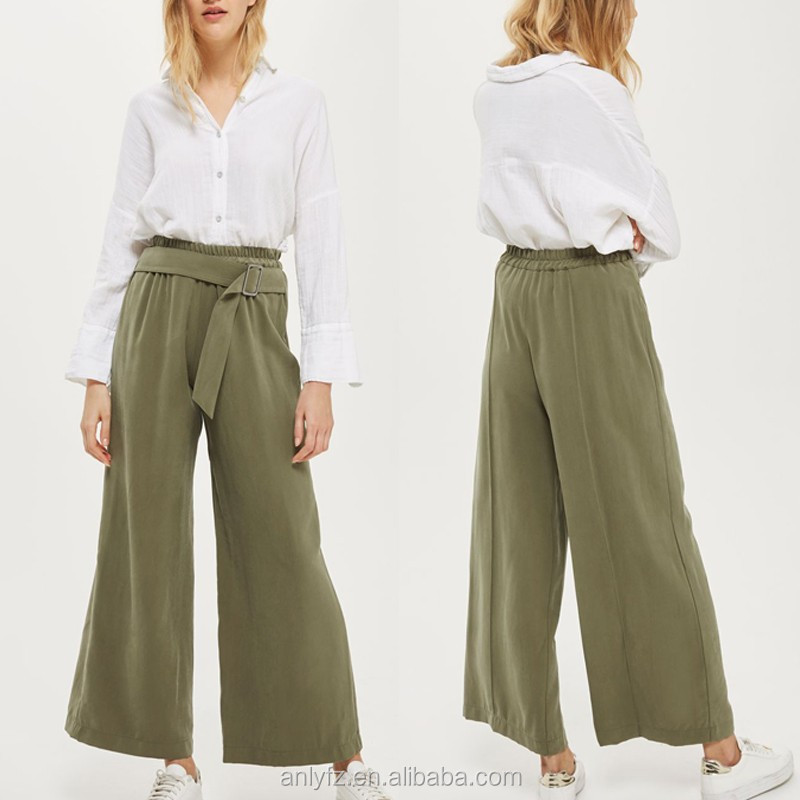 New season arrived trendy washed high waisted belted wide leg women khaki trousers