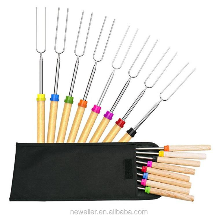 Best quality natural color metal marshmallow fork in bundle packing