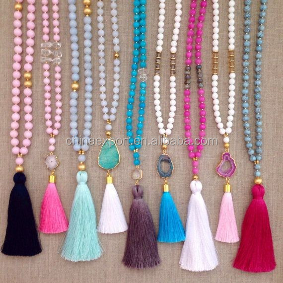 2016 Fashion Mala Bead Knotted Druzy Necklace With Tassel
