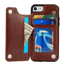 Luxury Crazy Horse Wallet Leather Case Stand Cover with Credit Card Slots & KickStand for iPhone 7 7s 6 6s Plus 5 5s 5G SE