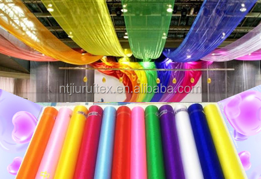 wedding , conference, stair case and roof laser cutting decoration organza roll fabric