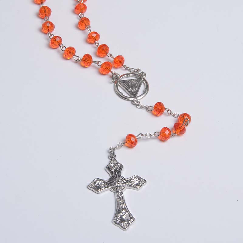 Orange Faceted Beaded Necklace Rosariy Plastic Rosaries Hotselling Catholic Chaplet Rosary Mexican Rosary Holy Spirit