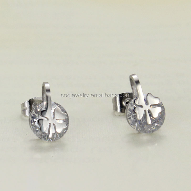 Es-037 2015 316l Stainless Steel Single Stone Gold Stud Earrings Costume with Stone Jewelry