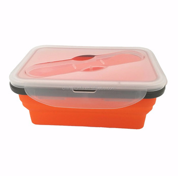 Professional 1000ML rectangle collapsible silicon material lunch box container folding new lunch box men wholesale