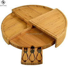 Premium multi level wooden kitchenware bamboo kitchen cheese cutting board set