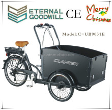 CE 3 wheel Danish design bakfiet electric cargo tricycle/adult trike pedal car/family cargo electric vehicle