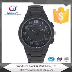 black colour wrist watch waterproof silicone strap