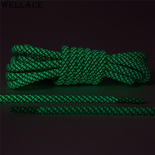 Wellace Glowing Running Shoe Laces Round Luminous White/Black Glow in the Dark Shoelaces for Boots Trainer Shoes 120cm/47''