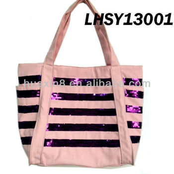 LHSY13001 Shiny 100% Canvas Beach Bag