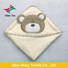 100% cotton terry applique embroidery kids hooded baby towel