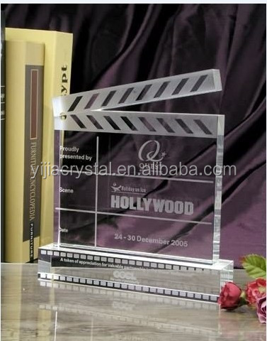 2016 Unique Design Crystal Glass Clapperboard Trophy/Slate Shaped Crystal Souvenirs for Graduation Gift(YJJB-2600)