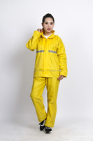 Adult reflective light pvc raincoat suit for women waterproof rain coat