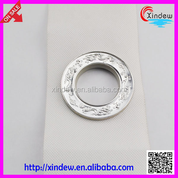 fancy polyester eyelets silver curtain tape with rings