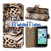 Wild Tiger Pattern Flip Leather Case for iPhone 5C Wallet Case with Stand Card Slot