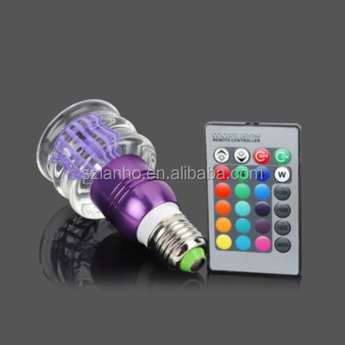 Romantic Crystal LED Light Bulb Colorful Lamp E27+ 24 keys Remote