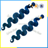 New Arrival Cheap Human Virgin Brazilian Hair Weave Blue Hair Extensions 3 Bundles Accept Paypal