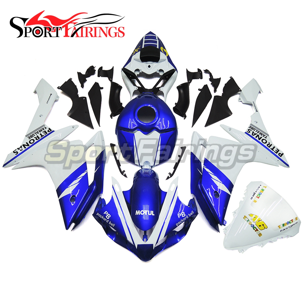 Full Injection <strong>Fairings</strong> For Yamaha YZF <strong>R1</strong> 07 <strong>08</strong> ABS Plastic Injection FIAT Gloss Blue Pearl White Motorcycle Kit