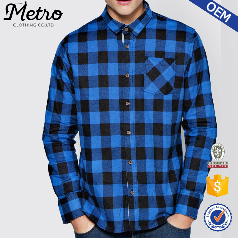 high quality men 39 s flannel shirts blue round hem classic