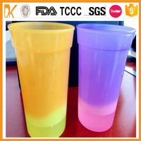 Temperature sensitive ice cream color changing plastic cup