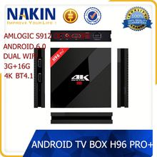 Online Free Live Tv Channels 4K 2K Full HD 2gb Ram 16gb Rom Android 6.0 Tv Box H96 Pro Plus
