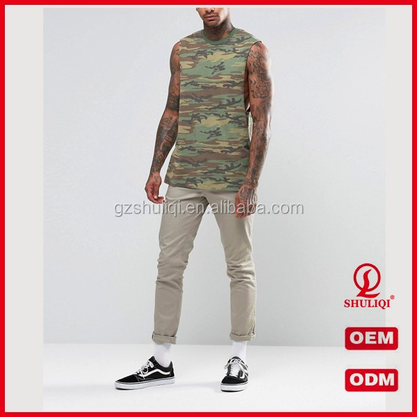 Custom Gym Low Cut Tank Top For Men Camouflage Print Gym Mens Stringer Singlet Wholesale