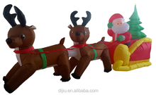 Newest sale trendy style Christmas sitting santa claus double Deer pull carts with many colors
