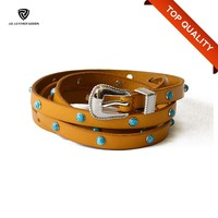 15mm Yellow Thin Women's Long Leather Belt with Rivets