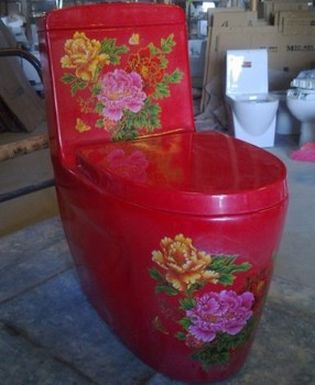 Siphon one piece red wc toilet with flower decoration buy red wc toilet red wc toilet with - Model deco wc ...