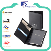 Black high quality pu passport wallet leather for men