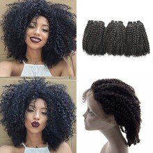 Afro Kinky Curly 360 Lace Frontal Closure With Bundles Mongolian Virgin Curly Human Hair Extensions
