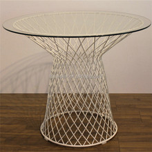 wire frame round mushroom shape glass coffee table