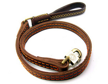 Handmade Band 120*2.5cm Cow Leather Pet Dog Leash Training Lead for Medium and Large Dogs