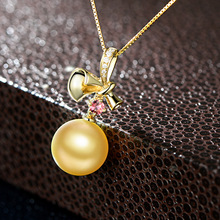 beatiful gold plated south sea pearl imitation jewelry pendant in 925 <strong>silver</strong> and golden shell pearl