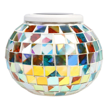 Crackle Glass Ball solar mosaic color changing stake light