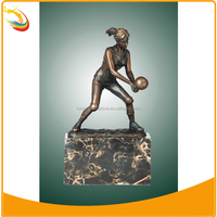 Sports Sculpture Hand Crafted Volleyball Player Bronze Sculpture Statue Figurine Art