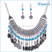 European and American retro diamond carved alloy coin tassel necklace sets