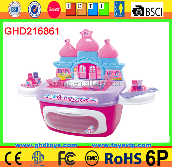 2016 Baby Girls Toy Dressing Table with rotation princess pink castle kitchen farm game toy