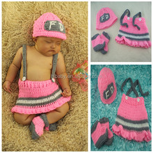 Newborn baby girl photography fireman hand-woven clothes