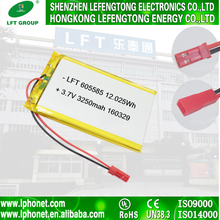 Factory outlet rechargeable 605585 3250mah batteries 3.7v 3200mah li-ion battery for sale
