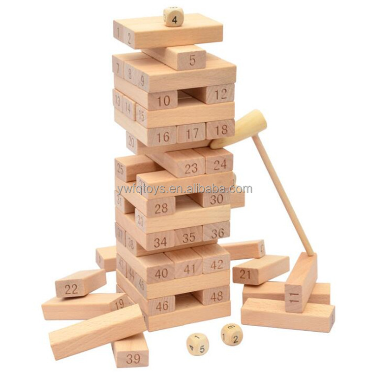 FQ brand 54pcs wooden toys stack tower drinkg games colorful beech wood building blcoks jenga