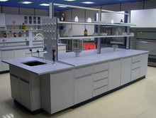 Customized Dimension Chemical Resistant Laboratory Furniture Type Metal Lab Benches With Reagent Shelf
