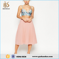 2016 guangzhou shandao summer new arrival fashion plain pictures of ladies long skirts