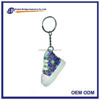 Cheap Custom made jordans shoe shape rubber metal keychains
