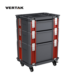 VERTAK Portable Plastic modular chest roller tool box cabinet garage With Aluminum handle and lock